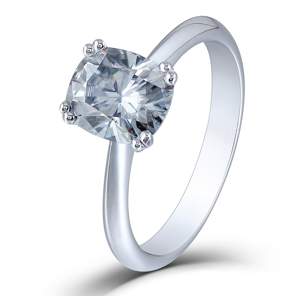 DOVEGGS 2ct 7X8mm Cushion Cut 2.6mm Width 8 Prongs Lab Grown Moissanite Engagement Rings Platinum Plated Silver (6)