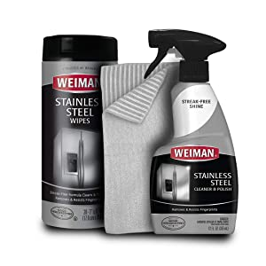 Weiman Stainless Steel Cleaner Kit - Removes Fingerprints, Residue, Water Marks and Grease From Appliances - Works Great on Refrigerators, Dishwashers, Ovens, Grills and More