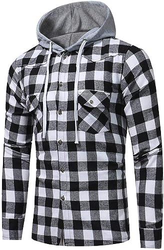 Hoodie Hooded Pullover Sweatshirt Mens Autumn Winter Long Sleeve Plaid Top Tee Outwear Blouse Sweatshirt