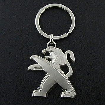 Llavero para llaves de coche dise/ño con logotipo de Peugeot logo de la marca de piel