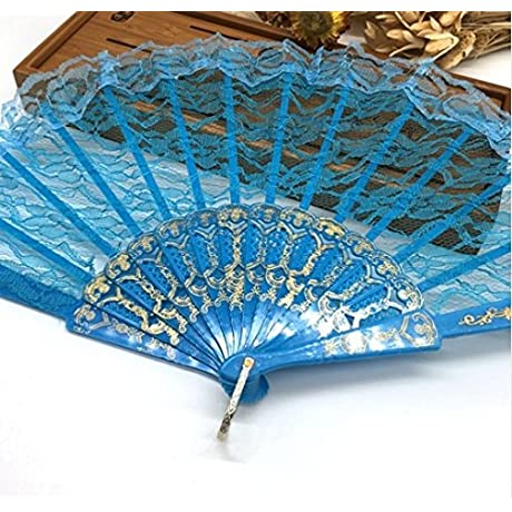 Blue Spanish Hand Fan Flower Lace Fan Hand Fan Folding Dancing Props Decoration Fiestas Party Favors