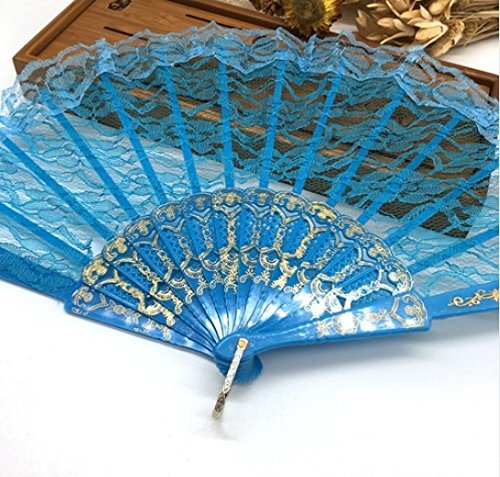 Blue Spanish Hand Fan Flower Lace Fan Hand Fan Folding Dancing Props Decoration Fiestas Party Favors by Hand Fan