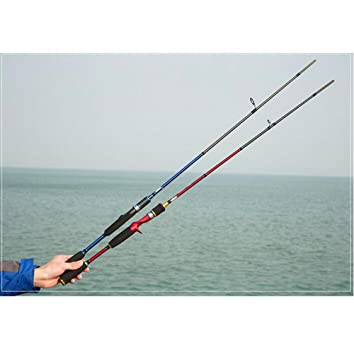 ZFF 2 Piezas Hilado Caña de Pescar Poder Carbón para Pesca con Flotador Mar Agua Dulce 1.8/1.98/2.1M Azul Rojo: Amazon.es: Deportes y aire libre