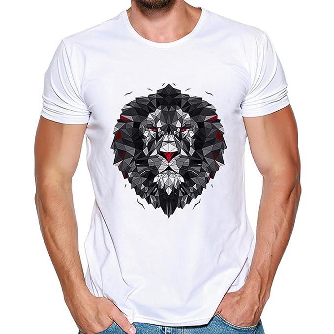 Resplend Hombres Que Imprimen la Blusa de Manga Corta de la Camiseta de la Camiseta de