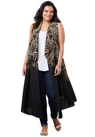 c7d9082fc1306 Roamans Women s Plus Size Open Front Flyaway Vest at Amazon Women s  Clothing store