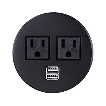 High Quality Power Grommet, Geckone Desktop Power Outlet 2 US Plugs U0026 2 USB Ports For  Computer