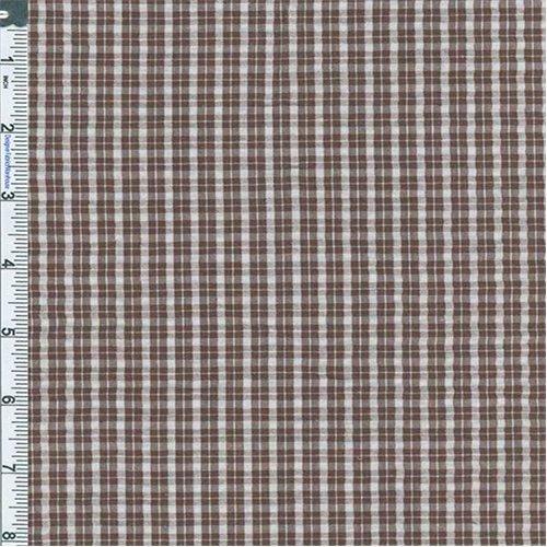 (Brown/White Mini Plaid Cotton Seersucker, Fabric by The Yard)