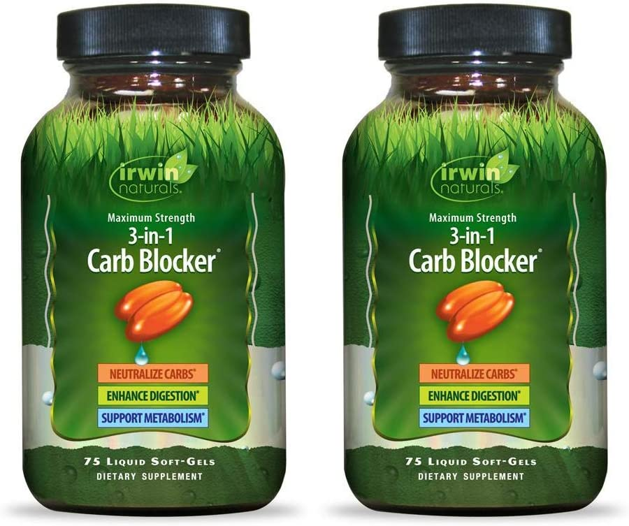 Irwin Naturals Maximum Strength 3-in-1 Carb Blocker - Neutralize Carbohydrates and Support Metabolism - 75 Liquid Softgels (Pack of 2)