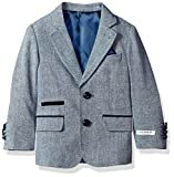Isaac Mizrahi Boys' Tweed Blazer With Suede Contrast, Blue, 2