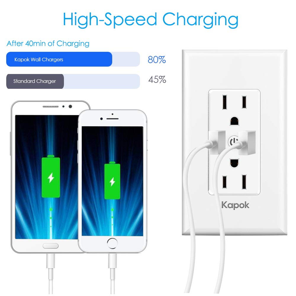 Smart WiFi Wall Outlets Light Switch No Hub Required, Standard Wall-in 5V//3.4A High Speed USB Charger Outlet Works with Alexa Google Assistant IFTTT Kapok T16 Alexa Wall Outlet 2019 Latest