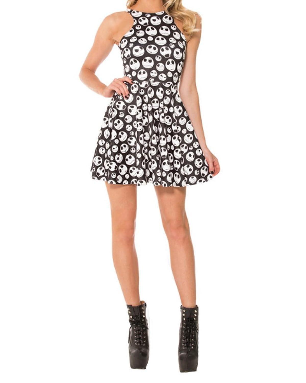 YipGrace Frauen Nette Schädel Gedruckt O-Ansatz ärmellos Halter Gefältelt Minikleid Beiläufiges Regenschirm Rock-Strand-Kleid