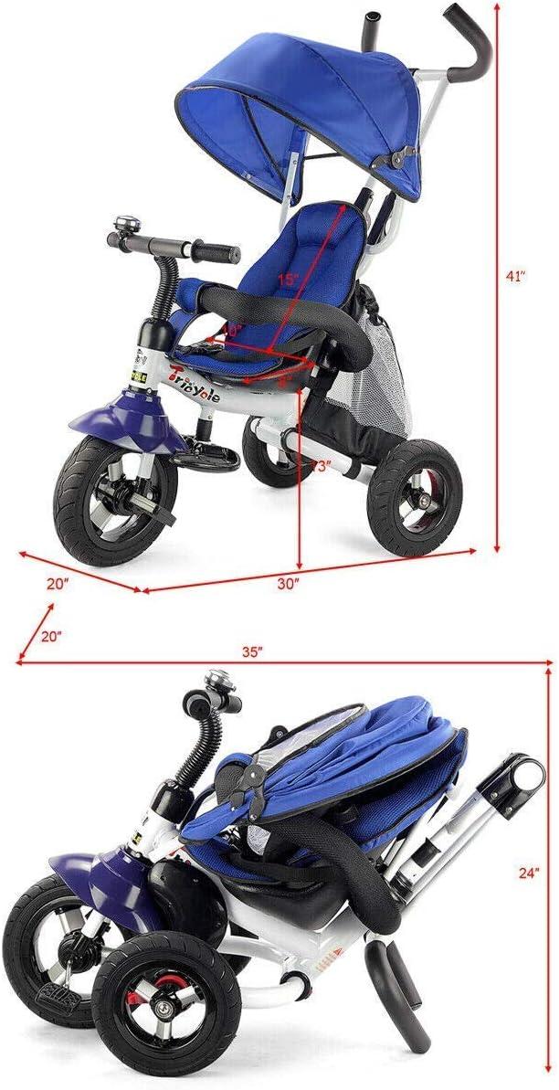 pieghevole bambini Triciclo bici di freno for 12 m cavo di sicurezza sacchetto di immagazzinaggio bambino passeggino con regolabile baldacchino Pedale pieghevole Accogliente 6 in 1 bambino Trike