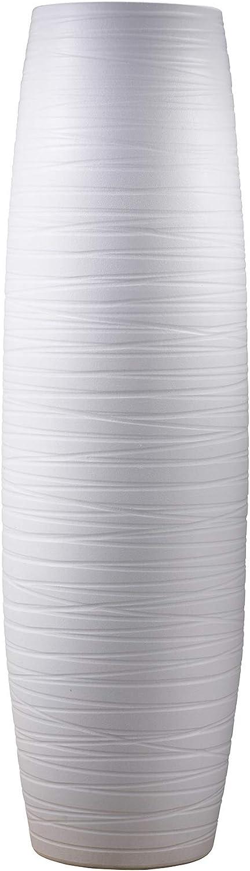 """ufengke White Stripe Large Floor Vase,Handmade Decorative Vase,Tall White Ceramic Vase for Flower,Height 29.5"""""""