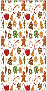 3D Decorative Film Privacy Window Film No Glue,Gingerbread Man,Festive Christmas Icons Graphic Pattern Star Figures Cookies Apples Bells Decorative,Multicolor,for Home&Office