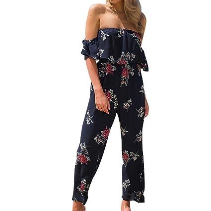 0053bd5074 Women Jumpsuit Daoroka Sexy Off Shoulder Ruffles Floral Print Short Sleeve  Wide Long Pants Rompers Casual