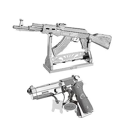MOTU 2pcs 3D Metal Nano Puzzle AK-47 + Beretta 92 Handgun Model Assemble Kits W111012-07 DIY 3D Laser Cut Jigsaw Toys for Beginner: Toys & Games