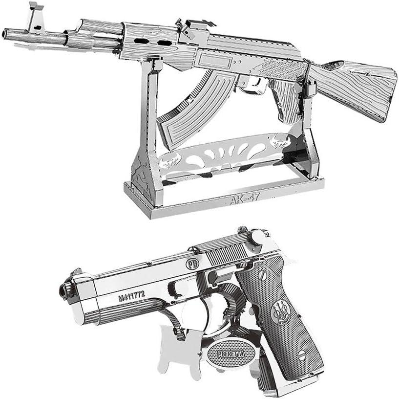 Moutu Juego de 2 piezas de rompecabezas de metal 3D AK-47 + Beretta 92 modelo de pistola W11102-07 DIY 3D corte láser montar rompecabezas juguete