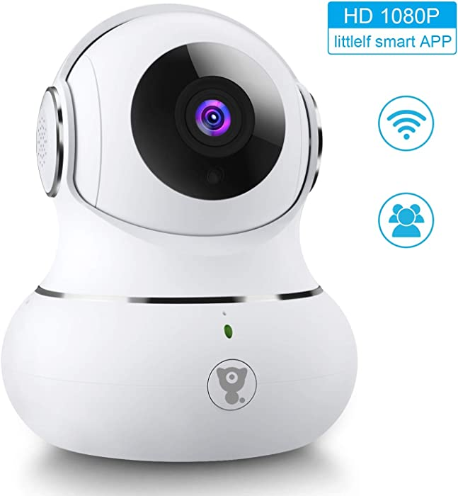 [Updated Version] Indoor Home Security Camera, Littlelf 1080p 2.4G WiFi Camera with Smart Motion Tracking Detection, 2-Way Audio, Night Vision and Cloud Service, Compatible with Alexa (White)