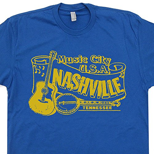 L - Nashville Tennessee T Shirts Banjo Shirt Country Music Club Bluegrass Mandolin Vintage Retro 80s Gilleys Rock Mens Womens Kids Tee (Soft T-shirt 80s)