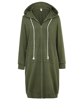 f691051c4e GRACE KARIN Lightweight Zip Up Long Hoodies Tunic Sweatshirt Army Green  Size S CL612-5