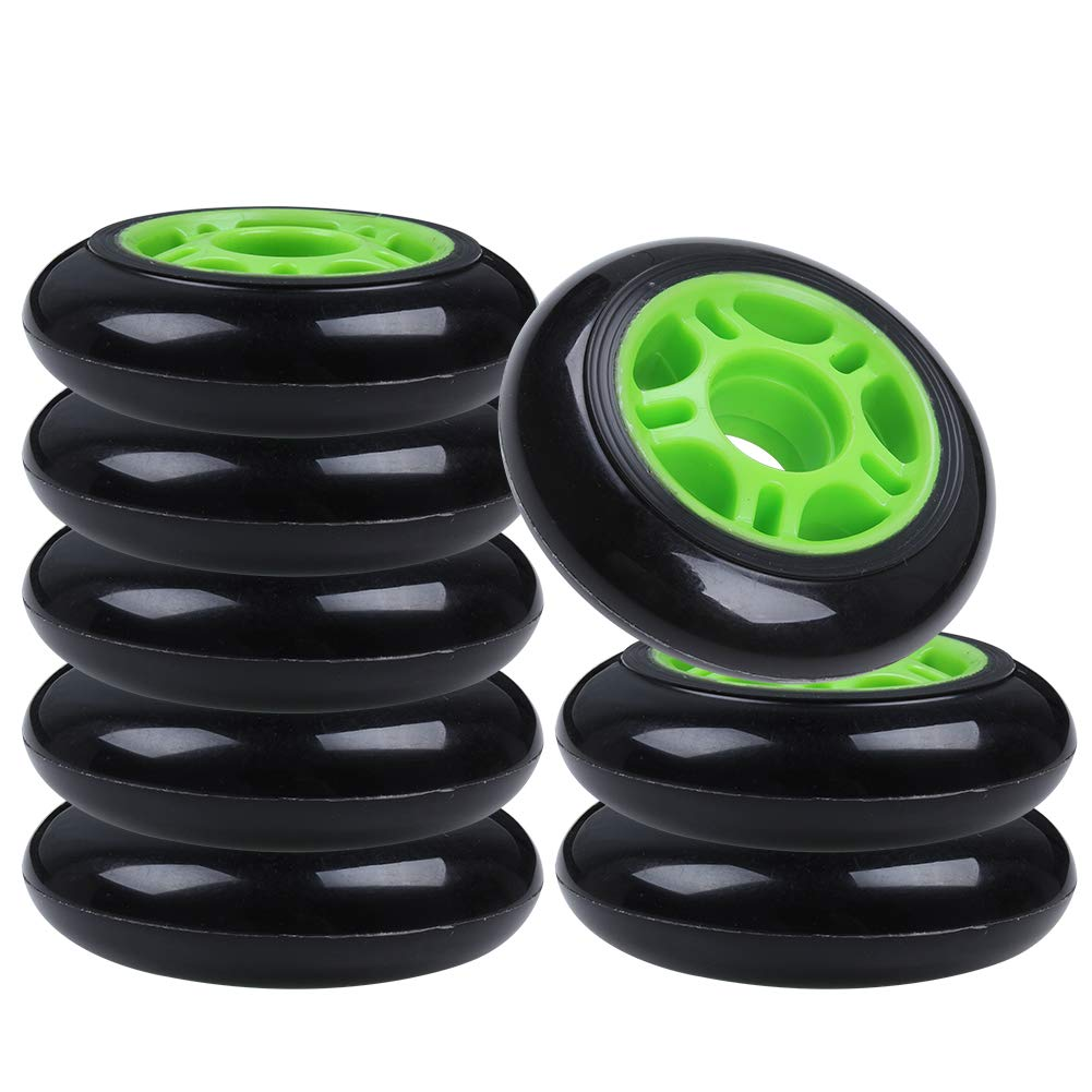 AOWISH 8-Pack Inline Skate Wheels 85A [Available in Sizes 64mm 70mm 72mm 76mm 80mm] Inline Skates Replacement Wheel (80mm/Green Hub Black Wheel) by AOWISH