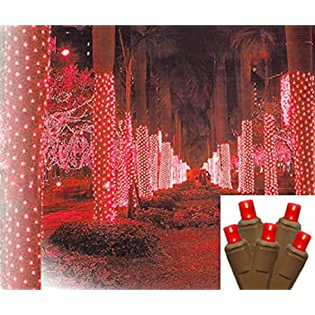 Amazon Com 2 X 8 Red Led Net Style Tree Trunk Wrap Christmas Lights Brown Wire String