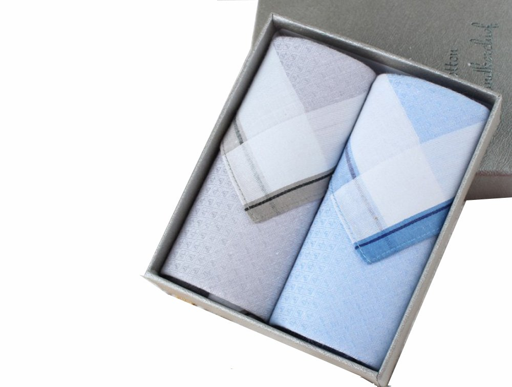 100% Cotton Soft Luxury Handkerchief-2pc in a Box (blue+gray)
