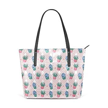 Amazon.com: Moda desierto Plantas Rosa Bolsos Bolso de PU ...