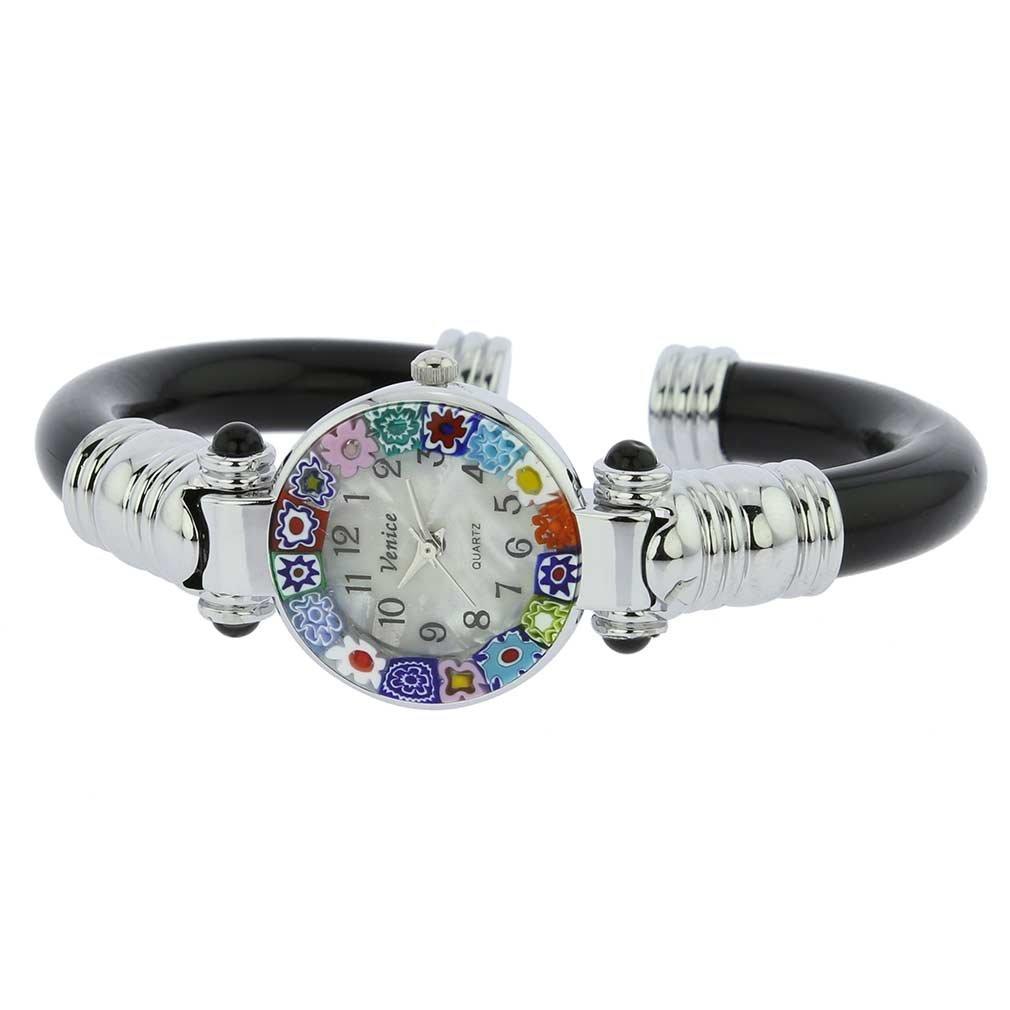 GlassOfVenice Murano Glass Millefiori Bangle Watch - Silver Black Multicolor