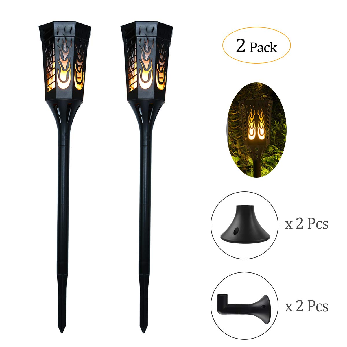 Ideapro Solar Lights, [Upgraded 2018] Torch 96 LED Solar Powered Flickering Flames Landscape Decoration Lighting Multipurpose Outdoor and Indoor for Wall Mounted Garden Patio Yard Lamp 2 PCS (Style 1)