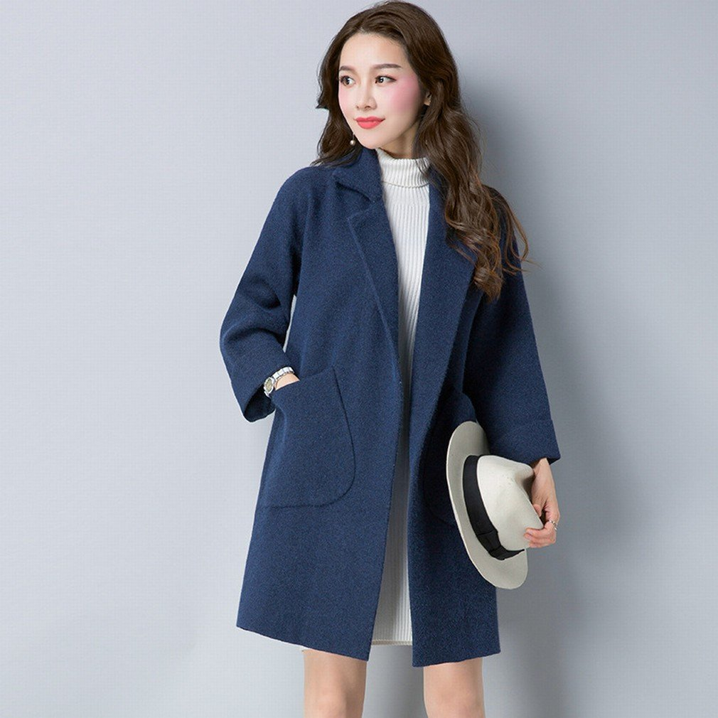 bluee TDDT Autumn and Winter Women 'S DoubleOpposite Coat in The Long Section of Loose Sweater Jacket Thickening