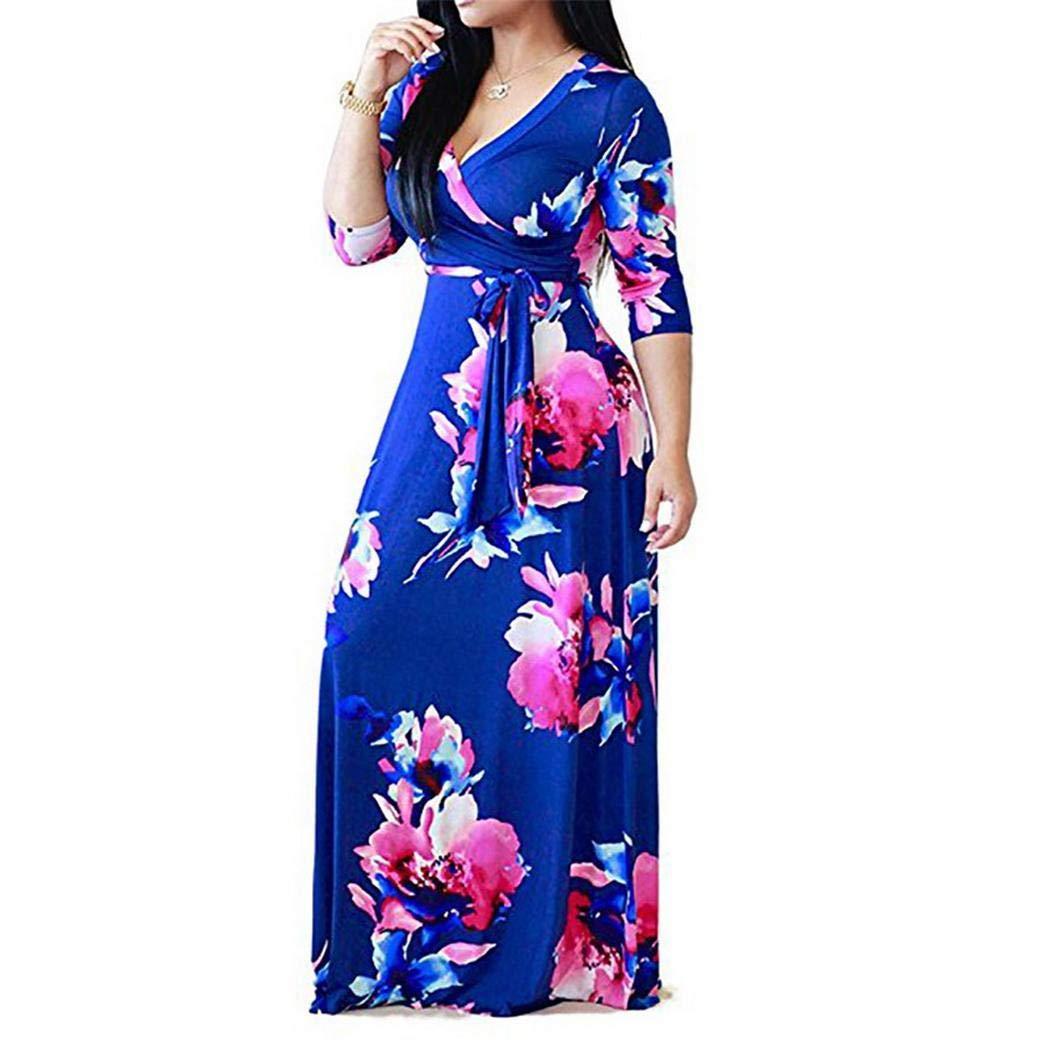 bluee Xinnio Women Girl Fashion Casual VNeck Floral Printed Laceup High Waist Big Hem Dress Casual Long Dresses Plus Size