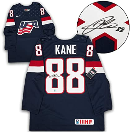 Patrick Kane USA Hockey Autographed Blue Nike IIHF Hockey Jersey at ... 9af26adb0c0
