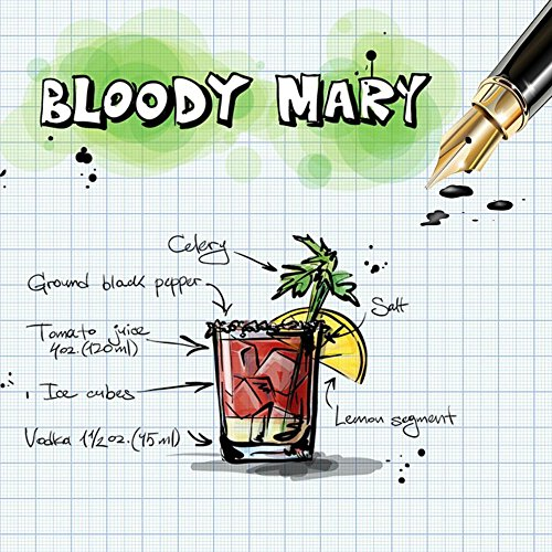 Wall Art Impressions Quality Prints - Laminated 24x24 Vibrant Durable Photo Poster - Bloody Mary Cocktail Drink Alcohol Recipe Party Alcoholic Summer ()