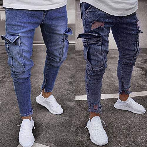 Strappati Cerniera Skinny Casual Liuchehd Denim Fit pantaloni blu Con Slim Pantaloni Jeans Da Elasticizzati Uomo F wIxXxaO