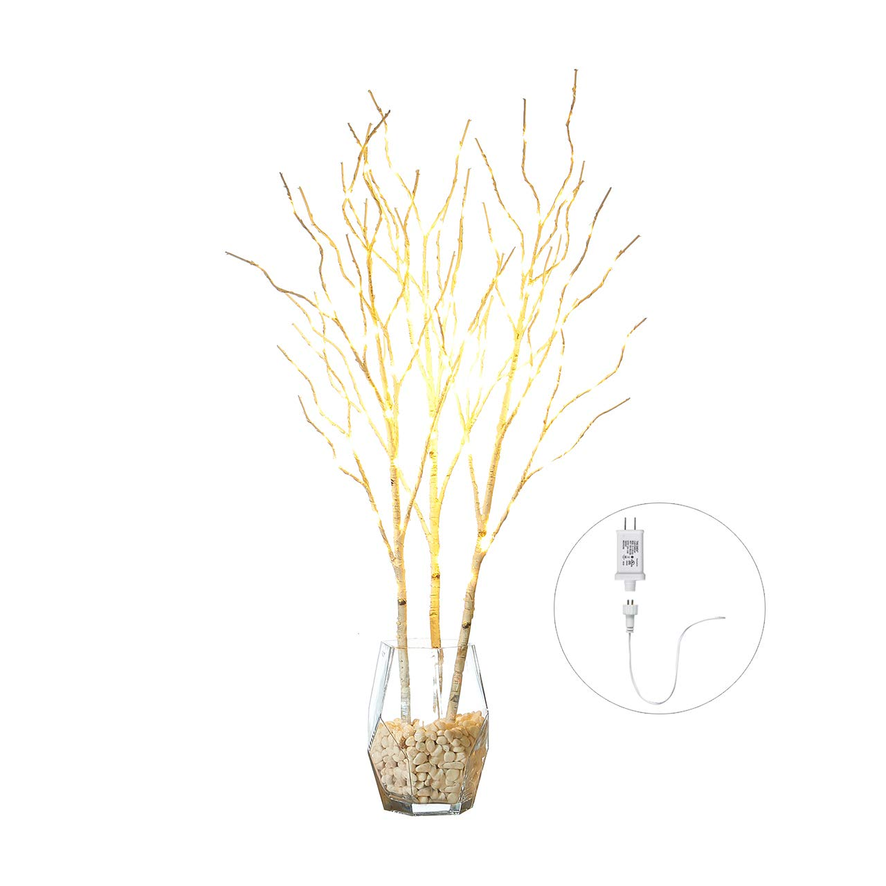 Hairui Lighted White Birch Willow Branches with Fairy Lights Decor 32in 150LED, Pre lit Artificial Twig Tree Branch Lights for with Timer for Indoor Home Decoration Plug in 3 Pack (Vase Excluded)