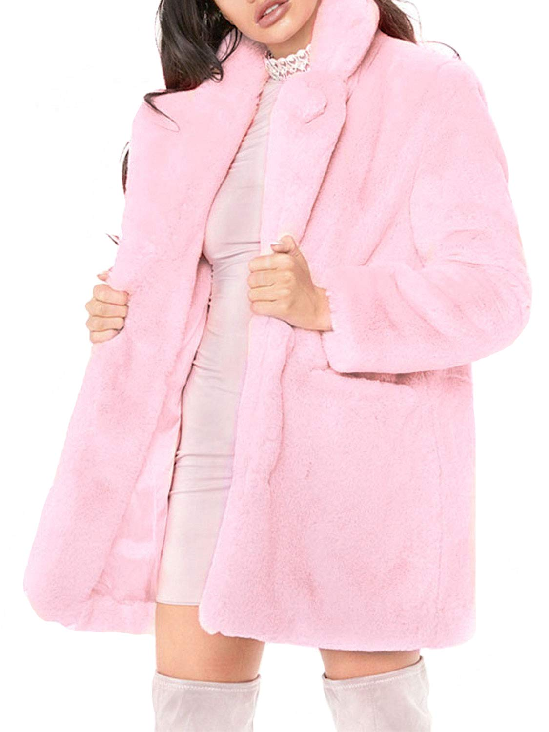 Glamaker Women's Winter Warm Shaggy Faux Fur Cardigan Coat Long Sleeve Thick Outwear with Pockets Rose Pink