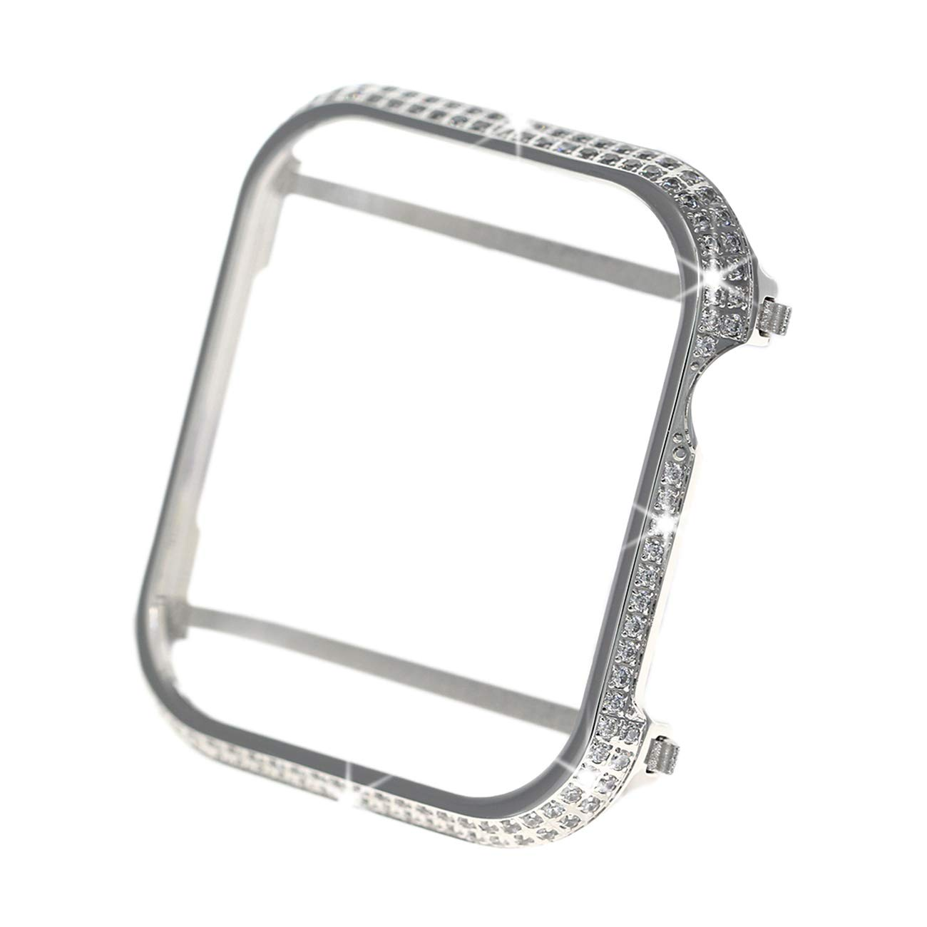 Shiny Diamond Rhinestone Aluminum Metal Watch Bumper Cover Compatible for Apple Watch 40mm/44mm Series 4(Best 3D Bling Gift for Your iWatch (Silver- 2, 44mm)