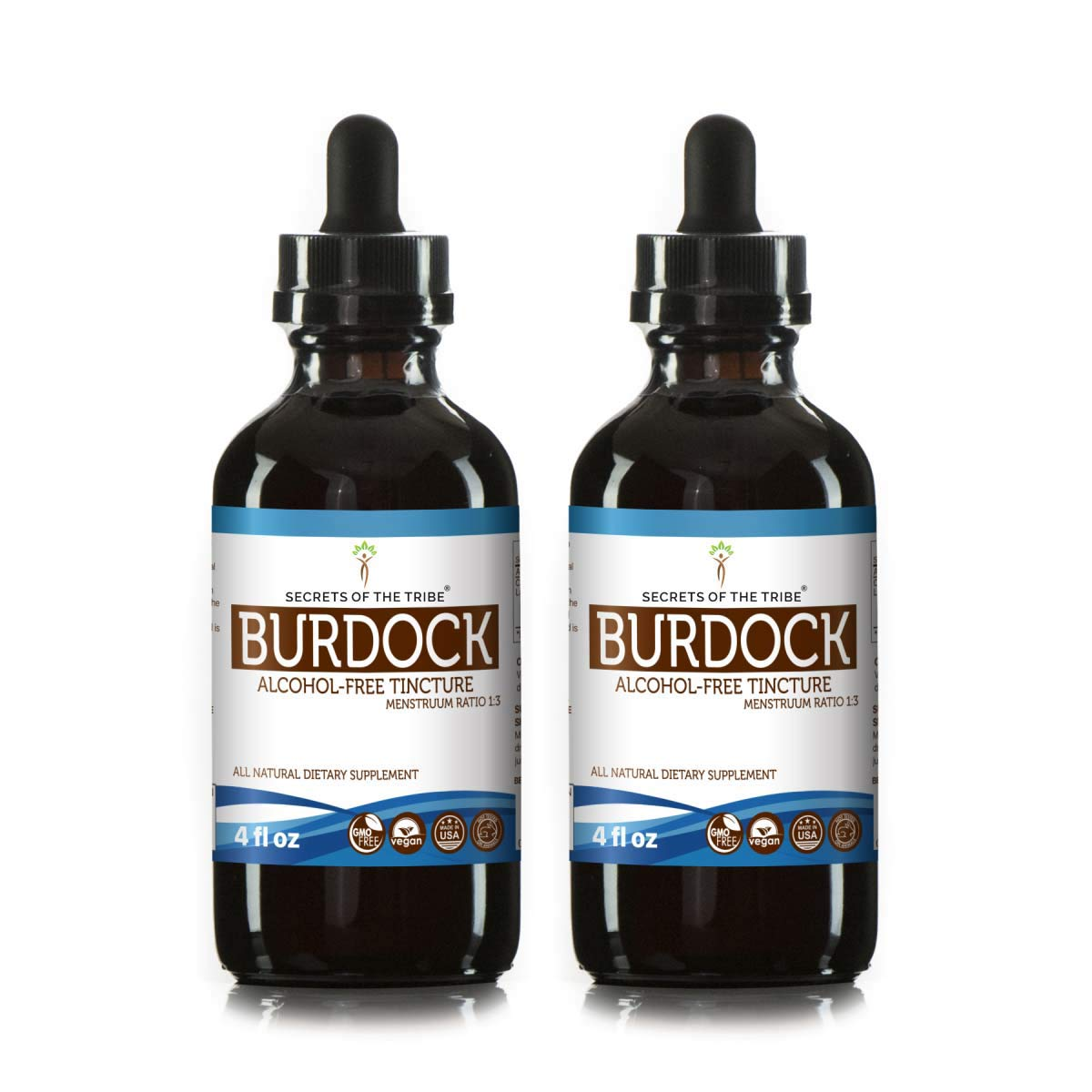 Burdock Tincture Alcohol-Free Liquid Extract, Organic Burdock (Arctium Lappa) Dried Root (2x4 FL OZ) by Secrets of the Tribe