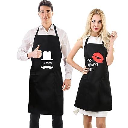 Grembiuli da coppia Uarter - Grembiuli da cucina divertenti per coppie Mr.  Right Mrs. 036c18135e0f