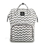 Pipi bear Diaper Bag Travel Backpack Large Capacity Tote Shoulder Nappy Bag Organizer for Baby Care with Insulated Pockets,Waterproof Fabric (Chevron)