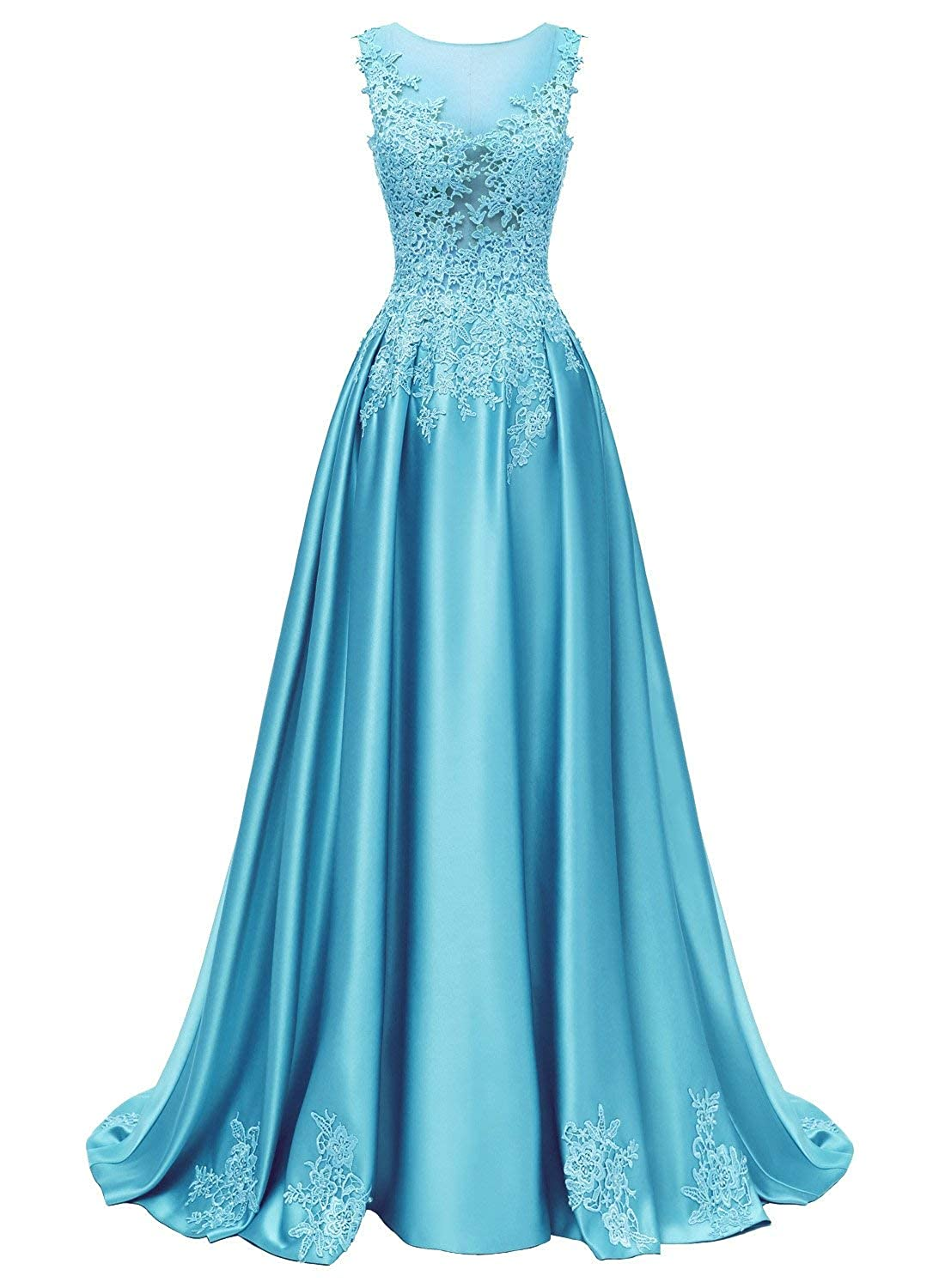 bluee Dressytailor Aline Scoop Long Satin Appliques Beading Prom Dress Formal Evening Gown with Pockets