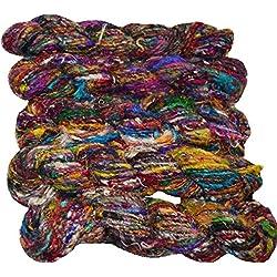 Himalaya Sari Recycled Silk Yarn Jewelry Gift Wrap Fair Trade Gift Wrap Ribbon Fiber Art Color bright multi