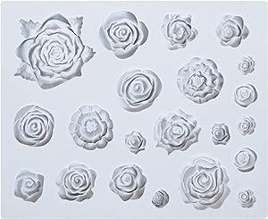 SAKOLLA Roses Flower Silicone Mold - 21 Cavity Mini Rose Fondant Mold for Sugarcraft, Cake Decoration, Gumpaste Icing, Polymer Clay, Chocolate, etc