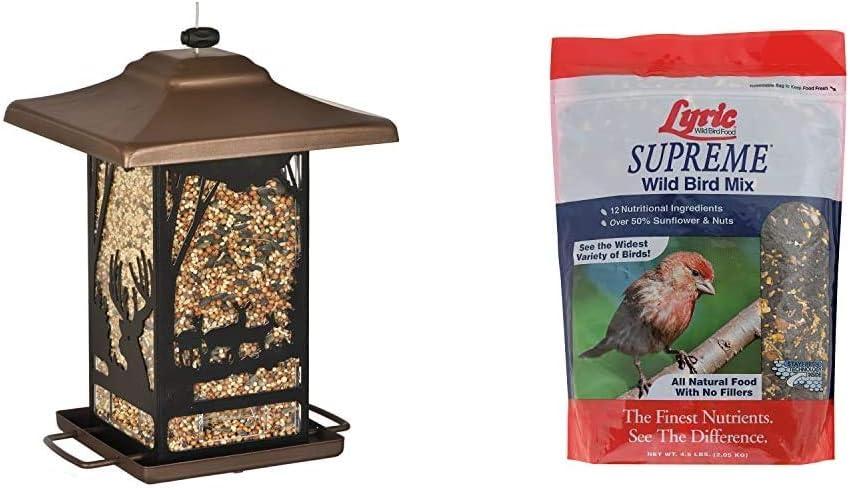 Perky-Pet 8504-2 Wilderness Lantern Wild Bird Feeder,Brown & Lyric 2647414 Supreme Wild Bird Mix - 4.5 lb.
