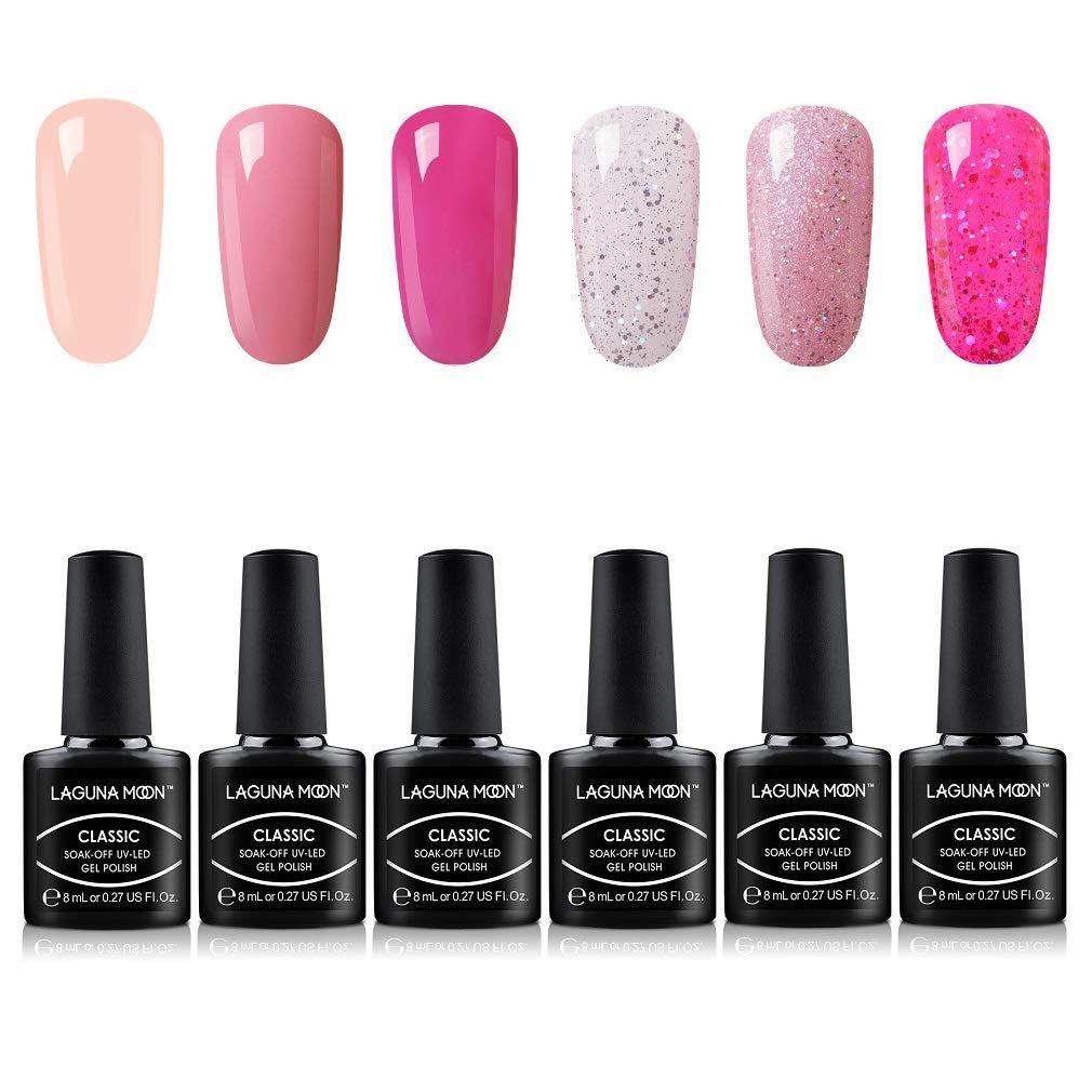 Lagunamoon UV Lack, Nagellack Set für Nageldesign Gel UV LED, 6 Stück Maniküre set, Nägel gel Gellack Soak off für Nail Art - 002