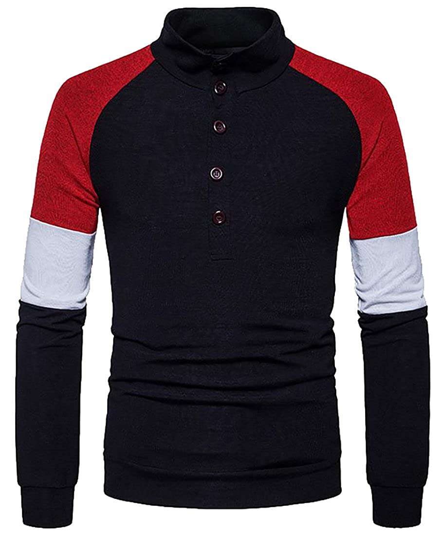 Macondoo Mens Contrast Color Spliced Knit Henley Stylish Pullover Sweater