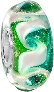 MATERIA - Perlina in argento Sterling 925 e vetro di Murano verde 3D per braccialetto # 56 MATERIA by Matthias Wagner #56