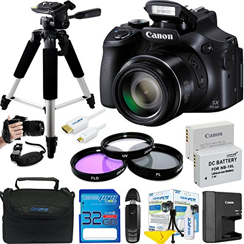 16.1 Mp Cmos Sensor (Canon PowerShot SX60 HS 16.1MP Digital Camera with 65x Optical Zoom and Built-in WiFi/ NFC + Expo Advanced Accessories Bundle)