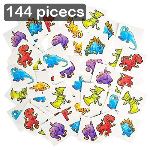 - Kicko Dinosaur Temporary Tattoo Kit 144 Pieces - 2 Inch Kids Dino Assortment - Bright and Colorful Temporary Tattoo Toys for Kids and Adults